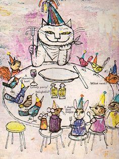 vintage illustration of a cat tea party