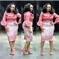 Pink Puffy Sleeves Turkey Dress for sale in Lagos Island Office Dresses For Women, African Dresses For Women, African Attire, African Wear, African Fashion Dresses, African Women, Fashion Outfits, Clothes For Women, Fashion Ideas