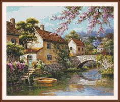 Country Village Canal Counted cross stitch by Maxispatterns