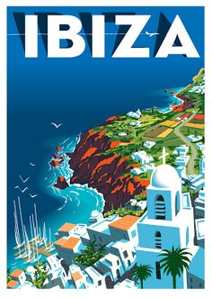Ibiza Vintage Travel Poster by Richard Zielenkiewicz. #Vintagetravelposters
