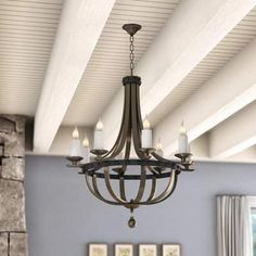 >@ Wilburton Empire Chandelier By Laurel Foundry Modern Farmhouse Square Chandelier, Lantern Chandelier, Empire Chandelier, Farmhouse Kitchen Lighting, Modern Farmhouse, Caged Ceiling Fan, Led Ceiling, Dining Room Mirror Wall, Traditional Ceiling Fans