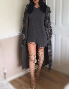 (50/50) Glammed Up // (tip: wear a black one-piece OR exercise shorts) Grey Baggy T-shirt Dress, Long Camo Trench coat, Strapped Tan Heels