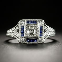 Art Deco Style Diamond and Calibre Sapphire Platinum Ring - Architectural geometry abounds in this striking Art Deco-style sparkler rendered in lustrous platin - Unique Diamond Engagement Rings, Deco Engagement Ring, Diamond Rings, Diamond Anniversary Bands, Diamond Wedding Bands, Art Deco Ring, Art Deco Jewelry, Vintage Jewelry, Gold Pinky Ring