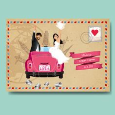 custom travel wedding invitation and save the date card announcement - airmail v.Thanks for this post.custom travel wedding invitation and save the date card announcement - airmail vintage style - kraft paper just married car - wo# Airmail Hindu Wedding Invitation Wording, Wedding Invitation Card Design, Wedding Invitations, Invites, Wedding Couple Cartoon, Wedding Card Design Indian, Just Married Car, Handmade Wedding Favours, Travel Cards