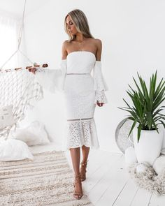 Stunning guest outfit ideas for your special occasion! Shop new arrivals! Semi Formal Dresses, Elegant Dresses, Lace Dresses, Midi Dresses, Dress Lace, White Lace, White Dress, Engagement Party Dresses, Wedding Dress