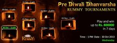 Don't miss to participate in Pre #Diwali #Dhanvarsha #Rummy #Tournaments starting @ 1PM today  Get online and enjoy #Rummy with your #family & #friends.  https://www.classicrummy.com/diwali-rummy-tournaments?link_name=CR-12