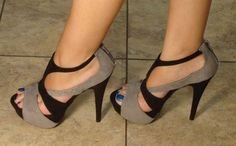 strappy peep-toe stilettos, w ankle strap and heel zipper. cute black and slate colors.