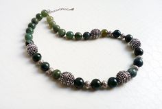 Green jasper gemstones and silvertone beads necklace by MercysFancy on Etsy