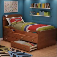 Bundle-27 Imagine Twin Captain Bed Set (2 Pieces) by South Shore. $512.98. [***INCLUDED IN THIS SET: (1)Imagine Twin Captain Bed, (1)Imagine Media Chest] Features: -Twin captain bed.-Transitional style.-Four practical drawers.-Open storage space provide ready access to all your items.-Box spring not required. Construction: -Engineered wood construction. Color/Finish: -Morgan cherry finish. Assembly Instructions: -Assembly required. Dimensions: -Dimensions: 76 '' D x 46 '' W x 44...