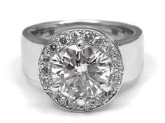 Engagement Ring -Wide Band Diamond Halo Engagement Ring in 14k White Gold-ES1269