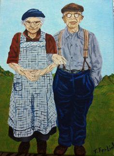 Boertje & Boerinnetje  geschilderd met olieverf door Tonny Ferliol .