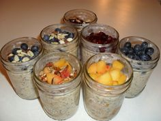 Overnight Oatmeal: use almond mild & stevia Raw Food Recipes, Sweet Recipes, Cooking Recipes, Healthy Recipes, 21 Day Fix Breakfast, Breakfast Recipes, Clean Eating, Healthy Eating, Healthy Food