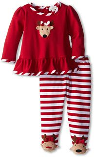 le top Reindeer Cheer Swing Top and Footed Stripe Pants - Reindeer Toes (Newborn) | adorable Christmas outfit to visit the grandparents