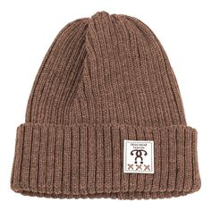 Label Decorated Crochet Knitted Beanie Coffee (16 PEN) ❤ liked on Polyvore featuring accessories, hats, crochet beanie, beanie cap hat, crochet hat, embellished hats and crochet beanie cap