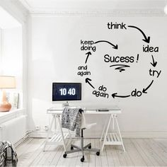 Quotes Discover Office Wall Art Office Decor Home Office Office Decals Wall Decor Wall Decal Wall Art Office Office Wall Design, Office Wall Decor, Office Walls, Office Art, Office Interior Design, Office Interiors, Room Decor, Vinyl Wall Decor, Creative Office Decor