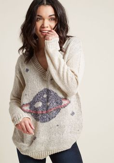 Interplanetary Elan Sweater in 1X - Long Pullover Waist by ModCloth