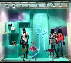 "DEBENHAMS, Dublin, Ireland, ""Summer Style News"", photo by Windows Of The World, pinned by Ton van der Veer Tropical Windows, Fashion News, Fashion Art, Stall Display, Retail Fixtures, Visual Merchandising Displays, Window Styles, Jungle Theme, Display Design"