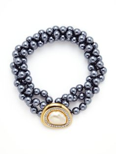 Kenneth Jay Lane Vintage Vintage Round Clasp & Grey Pearl Triple Strand Necklace