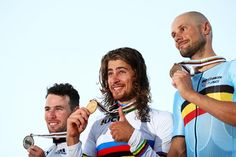 Velo d'Or taken by Sagan.  (Photo: 2016 World Championships podium (l-r): Mark Cavendish (Great Britain), Peter Sagan (Slovakia) and Tom Boonen (Belgium)