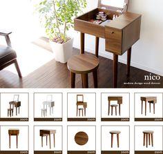 air-rhizome | Rakuten Global Market: Dresser Dresser mirror mirror side Dresser wooden Dresser desk desks with stools, makeup table mid-century modern simple Nordic storage chest makeup units wooden Dresser nico [Niko] 10P30Nov13