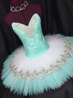 Fluffy wide blue and white sparkly tutu