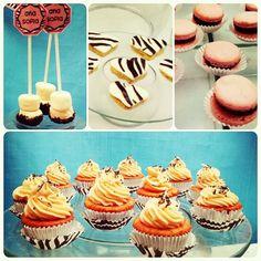 Fiesta Animal print, minicupcakes, macarrones dulces, galletas y masmelos / Animal print party, minicupcakes, macarrons, cookies and marshmallows