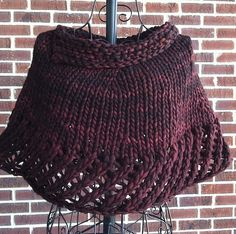 Quick Knit Lacy Capelet by Kelly Mac. malabrigo Rasta in Rich Chocolate colorway.