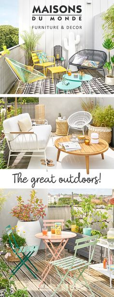 Looking for decor ideas for your outdoor space? With all the new arrivals in the 2018 collection, you'll have a lot of fun! From fresh furniture in contemporary designs, to a wide range of stylish outdoor seating, through to bright, eye-catching soft furnishings; find everything you need to help you create the outdoor space of your dreams! | Maisons du Monde