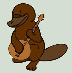 musical platypus Baby Platypus, Duck Billed Platypus, Fantasy Football Logos, Random Acts, Mammals, Scooby Doo, Musicals, Creatures, Funny