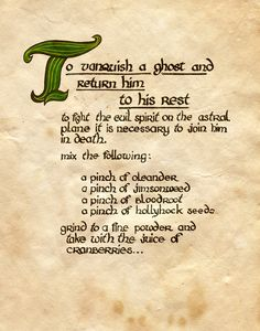"""""""To Vanquish a Ghost and Return Him to His Rest"""" - Charmed - Book of Shadows"""