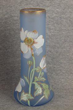 Mont Joye light blue French art glass vase with enamel : Lot 835
