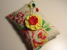 Handmade Red & Yellow Floral Sachet Pin Cushion by backgatecottage, $20.00