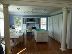 Love the periwinkle wall color and customized layout