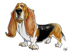 Basset Hound caricature portrait by John LaFree Basset Puppies, Basset Hound Dog, Dogs And Puppies, Chien Basset, Funny Dogs, Cute Dogs, Animals And Pets, Cute Animals, Hounds Of Love