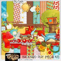 Backyard Play Digital Scrapbooking Mega Kit door DesigningPixelDust, $10.00