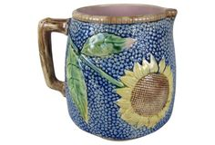 Etruscan Majolica Sunflower Pitcher