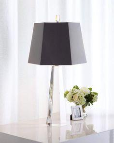 Neiman Marcus Gray Hexagon Crystal Table Lamp