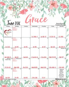 Free Printable June 2016 Calendar 30 Days of Bible Reading Challenge with room to jot down list and birthdays. Ready for our fridge. How to do a Topical Bible study on Grace.  #biblejournaling