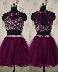 Homecoming Dress,2 Piece Homecoming Dresses,Silver Beading Homecoming Gowns,Short Prom Gown,Sweet 16 Dress,Homecoming Dress