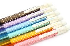Pilot Fure Fure Corone Shaker Mechanical Pencil   These slim shaker pencils feature a cute, sweet design: a lovely pattern of white polka dots wraps around the body, and the top looks like a dollop of whipped cream!