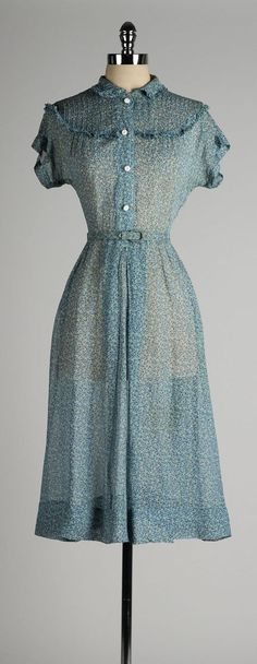 vintage 1940s dress . sheer blue chiffon . by millstreetvintage