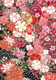 Flower pattern of Japan on Behance Asian Flowers, Japanese Flowers, Japanese Fabric, Japanese Kimono, Chinese Patterns, Japanese Patterns, Vintage Japanese, Japanese Art, Japanese Style