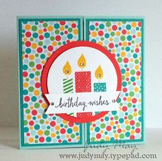 Birthday candles - outside view.  See other pin for the inside of this tri-fold card.