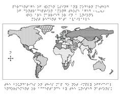 Braille World Map tactile graphic (emboss)