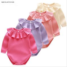 2017 Spring Baby Girls 100% Cotton Rompers Infant Toddler Children Kids Long Sleeve Underwear Solid Clothes