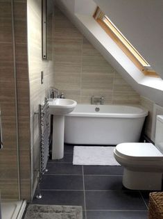 If you are looking for Small Attic Bathroom Design Ideas, You come to the right place. Below are the Small Attic Bathroom Design Ideas. Small Attic Bathroom, Loft Bathroom, Upstairs Bathrooms, Bathroom Ideas, Bathroom Makeovers, Small Attic Room, Attic Shower, Bathroom Grey, Bathroom Plumbing