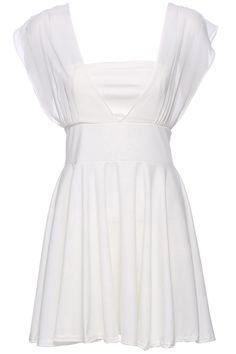 ROMWE Lace-up V-neck White Sleeveless Sexy Dress