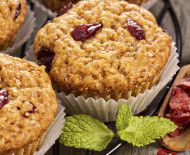 Whole-grain cranberry orange muffins--heart healthy. Muffins with dried berries