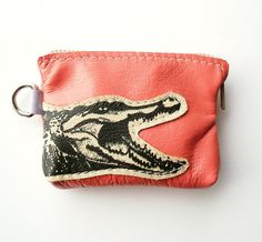 Crocodile Coin Purse in Pink leather