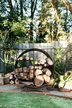 Firewood storage: I ronbark Outdoor Areas, Outdoor Rooms, Outdoor Living, Outdoor Fire, Landscape Design, Garden Design, Rustic Fire Pits, Fire Wood, Sunken Fire Pits